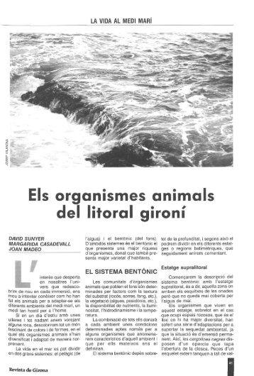 Els organismes animáis del litoral gironí - Raco