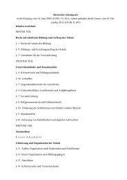 Hessisches Schulgesetz, Stand Dezember 2012
