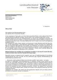 OB an Ministerpräsident Koch zu Sparmaßnahmen