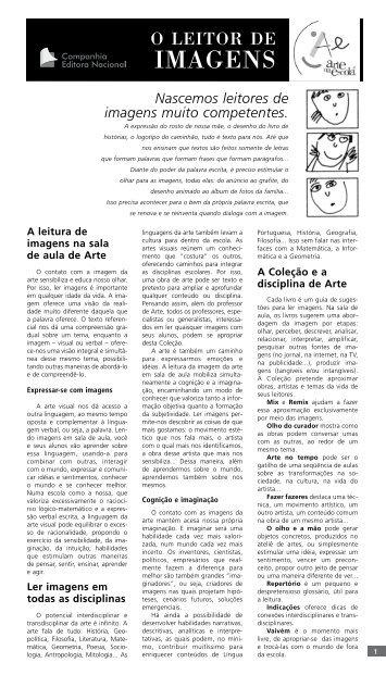 Visualizar encarte do professor em PDF - Arte na Escola