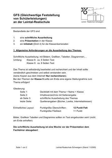Leitfaden Zur Gfs Bearbeitung Realschule Ditzingen