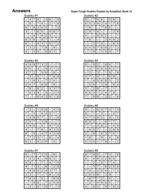 picture regarding Krazydad Printable Sudoku called Options Tremendous