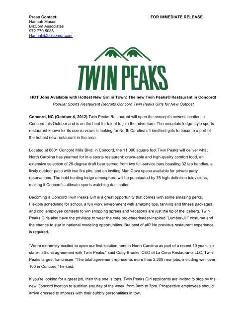Press Contact Twin Peaks Restaurants