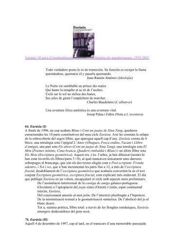 Euràsia: 30 anys d'insubordinació literària als ... - Hermeneia