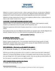 High School Mifgashim Information - Congregation Shearith Israel