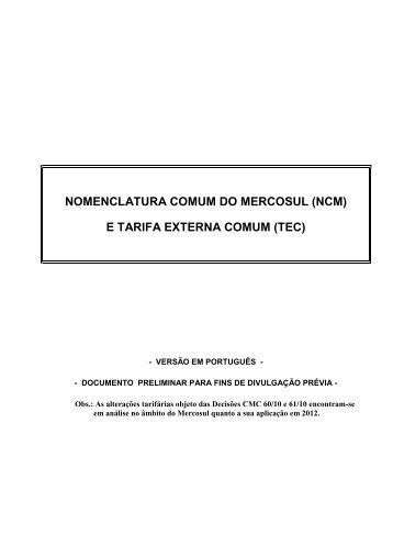 Códigos das NCM
