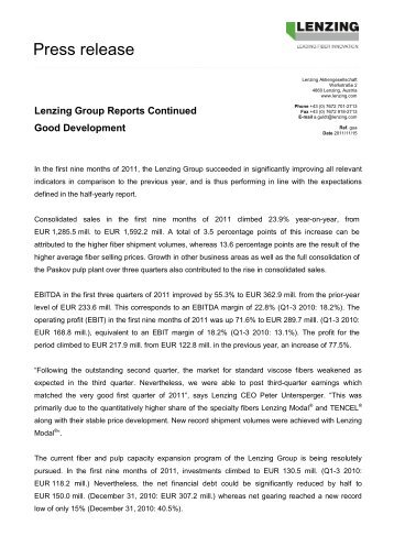 Download press release as PDF - Lenzing
