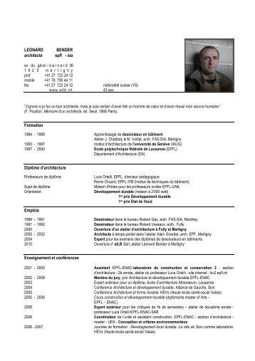 LEONARD BENDER architecte epfl - sia ... - atLB - architecture
