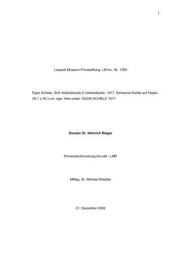 Dossier Heinrich Rieger - Bundesministerium für Unterricht, Kunst ...