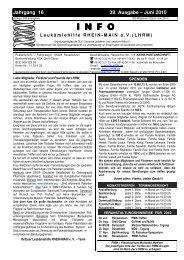 Juni 2010 INFO - Leukämiehilfe RHEIN-MAIN geV