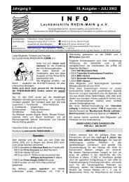 Juli 2003 INFO - Leukämiehilfe RHEIN-MAIN geV