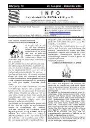 Dezember 2004 INFO - Leukämiehilfe Rhein-Main 23. Ausgabe (PDF)