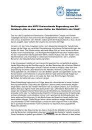 Stellungnahme des ADFC Kreisverbands Regensburg zum EU ...