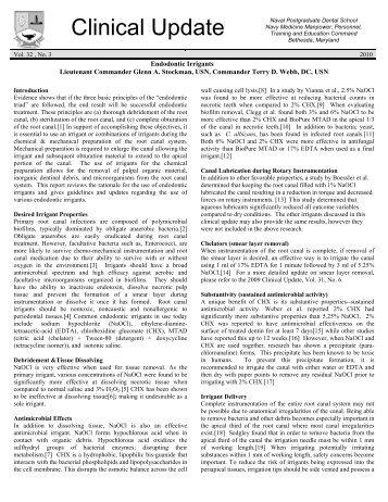 003 Endodontic Irrigants - Navy Medicine