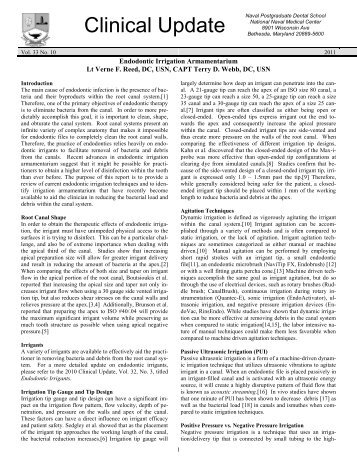 010 Endodontic Irrigation Armamentarium - Navy Medicine