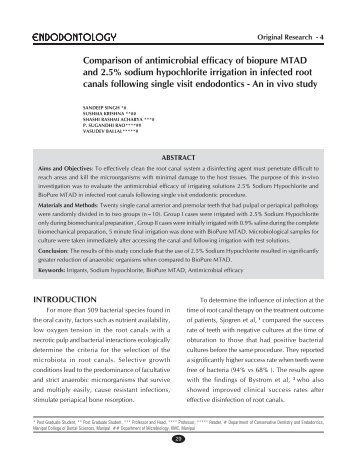 Comparison of antimicrobial efficacy of biopure MTAD and 2.5 ...