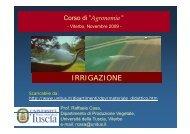 Corso di Agronomia - Irrigazione - Fertirrigazione
