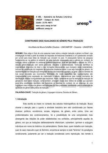 CONSTRUINDO (DES) IGUALDADES DE GÊNERO PELA ... - Unesp
