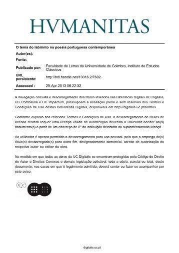 O tema do labirinto na poesia portuguesa contemporânea Autor(es ...