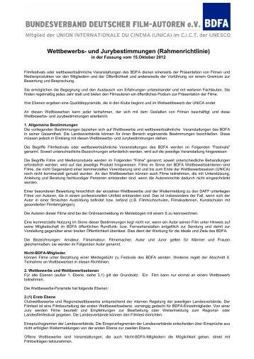 BDFA-Wettbewerbsbestimmungen - LFVB