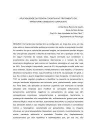 APLICABILIDADE DA TERAPIA COGNITIVA NO TRATAMENTO DO ...