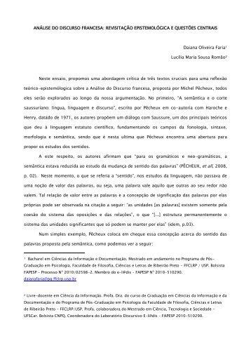 ANÁLISE DO DISCURSO FRANCESA: REVISITAÇÃO ... - UFSCar