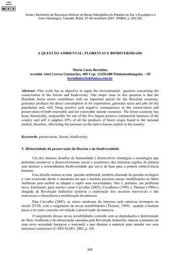 A QUESTÃO AMBIENTAL: FLORESTAS E BIODIVERSIDADE Maria ...