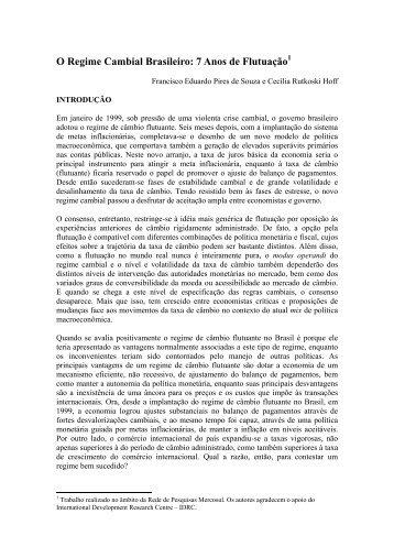 O Regime Cambial Brasileiro - Instituto de Economia da UFRJ