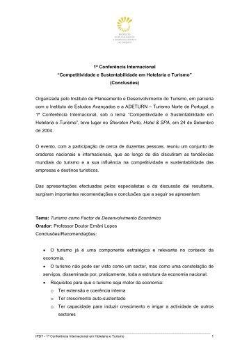 I Conferência Internacional em Hotelaria e Turismo  2004 - IPDT