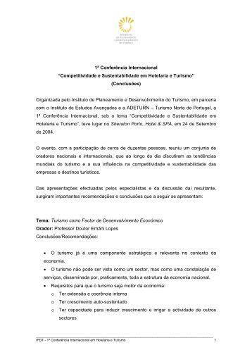 I Conferência Internacional em Hotelaria e Turismo |2004 - IPDT