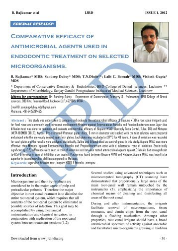 Comparative Efficacy Of Antimicrobial Agents Used In Endodontic ...