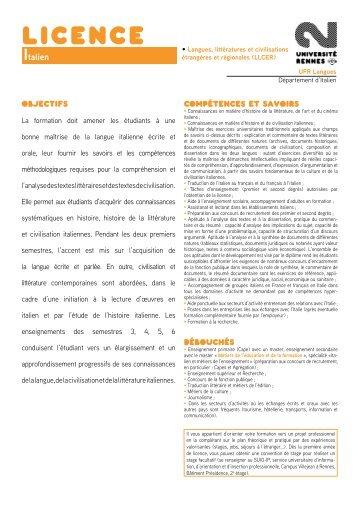 Italien - Université Rennes 2