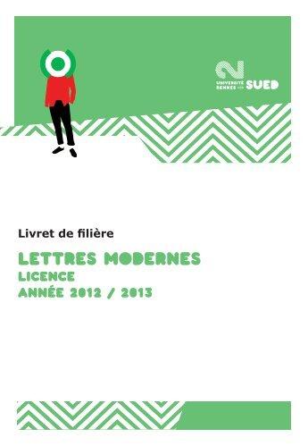 LETTRES MODERNES - Université Rennes 2
