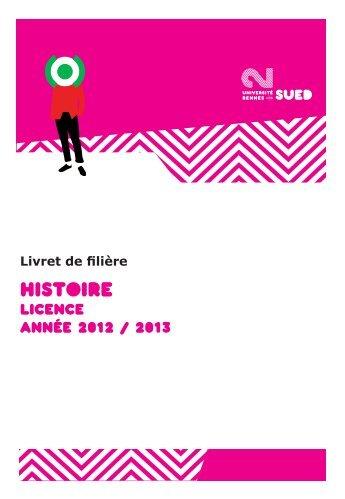 Le Livret de la filière Histoire - Université Rennes 2
