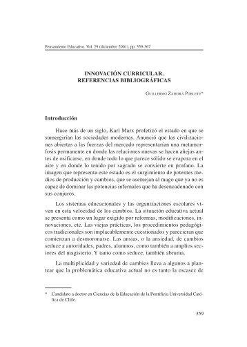 INNOVACIÓN CURRICULAR. REFERENCIAS BIBLIOGRÁFICAS ...