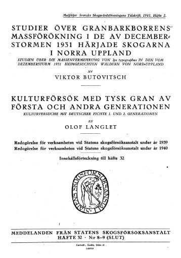 STORMEN 1931 HÄRJADE SKOGARNA I NORRA UPPLAND ...