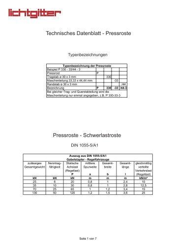 Technisches Datenblatt Pressroste (PDF)