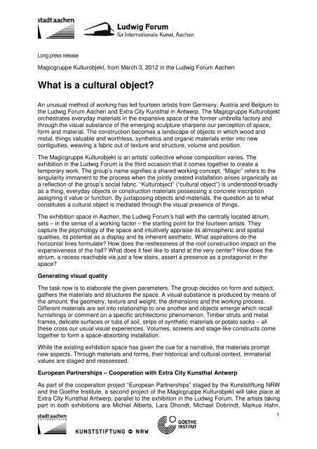 What is a cultural object? - Ludwig Forum für Internationale