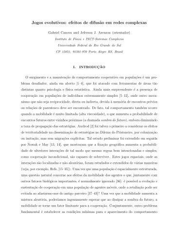 Jogos evolutivos: efeitos de difus˜ao em redes complexas - CBPF