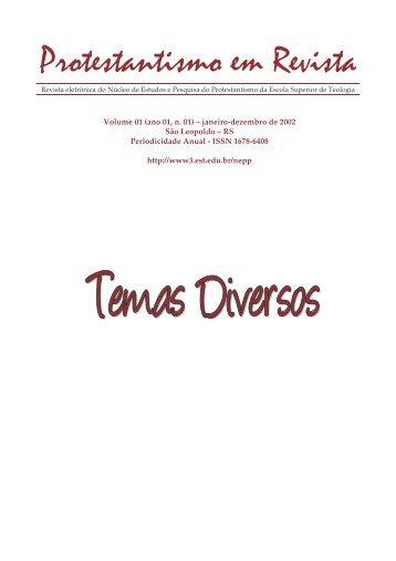 Protestantismo em Revista, volume 01 (ano 01, n.1) - Faculdades EST