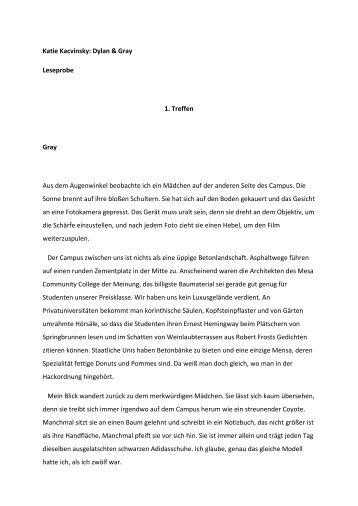 Katie Kacvinsky: Dylan & Gray Leseprobe 1. Treffen ... - Bastei Lübbe