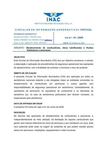 CIA n.º 10/09 - Instituto Nacional de Aviação Civil