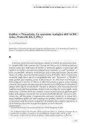 Galileo e l'Eucaristia. La questione teologica ... - Acta Philosophica