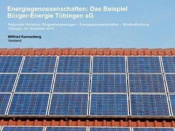 Das Beispiel Bürgerenergie Tübingen eG