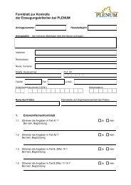 Formblatt zur Kontrolle der Erzeugungskriterien bei PLENUM