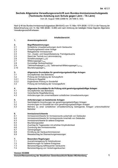 Sechste Allgemeine Verwaltungsvorschrift zum Bundes ...