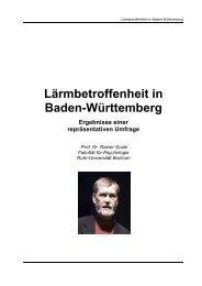 Lärmbetroffenheit in Baden-Württemberg Ergebnisse einer ...