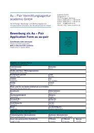 Bewerbung als Au – Pair Application Form as au-pair - academis