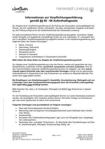 Voraussetzungen für die Abgabe einer Verpflichtungserklärung