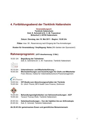 4. Fortbildungsabend der Tierklinik Hattersheim